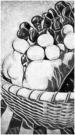 A Kitchen Fruit Basket - One of six, free primitive-style, 8x10 wall art prints available today. Please repin this image or bookmark its page and check back often. New free prints are added all of the time.