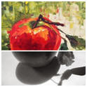 Apple a Day #2 - Painted by Susan Barri  from a Black and White photo that's one of hundreds of free reference photographs on Paint My Photo.